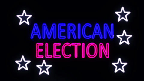 American Election in Neon Lights Turning on Footage