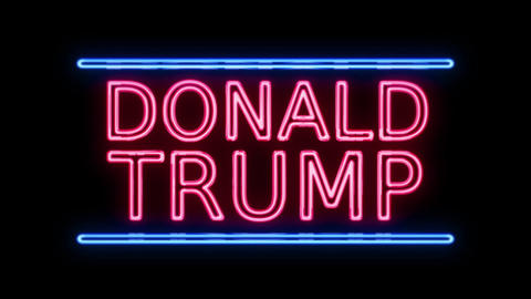American Election Donald Trump Sign Neon Sign in Retro Style Turning On Live Action