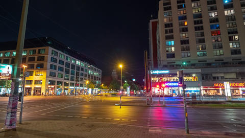 BERLIN, GERMANY - MAY,2019: Panoramic timelapse view of Alexanderplatz, large Live Action