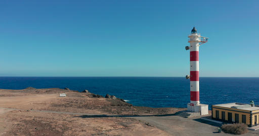 Aerial view. Lighthouse on the shore of the Atlantic Ocean. Aerial view. Canary Live Action
