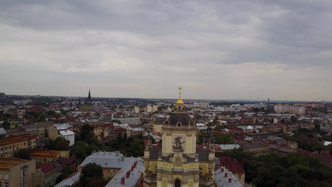 Aerial view of St. George's Cathedral, Lviv Live Action
