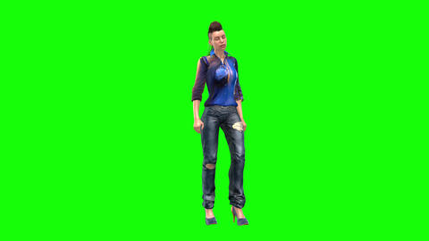 501 4k 3d animated fashion girl stands beside something and talks Animation