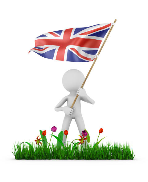 man with flag of Great Britain Photo