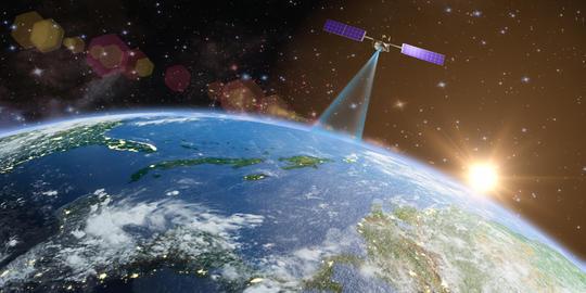 Satellite transmits a signal Photo