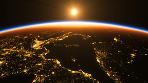 4K. Sunrise In Space. Amazing Night View On European Zone Of Planet Earth GIF
