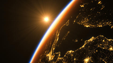 Sunrise In Space. Amazing Night View On European Zone Of Earth GIF
