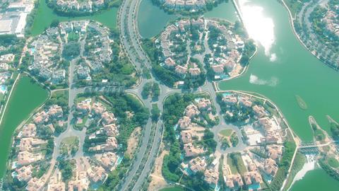Aerial view of Jumeirah Islands community villas pattern in Dubai, United Arab Live Action