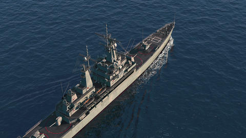 American Modern Warship In The High Seas. Top View Animation