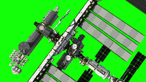 Flight Of The International Space Station. Green Screen Animation