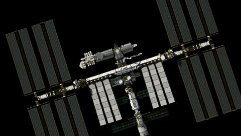 Flight Of The International Space Station. Alpha Matte Animation
