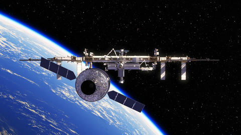 Cargo Spaceship Is Preparing To Dock With International Space Station Animation