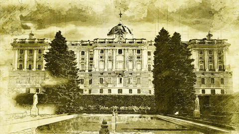 4K Royal Palace in Madrid Spain Vintage Artwork Animation