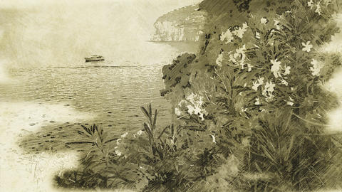 4K Sorrento Bay Italy Vintage Artwork Animation