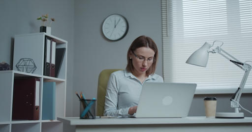 Woman professional using laptop sit at office desk, happy female customer make Live Action