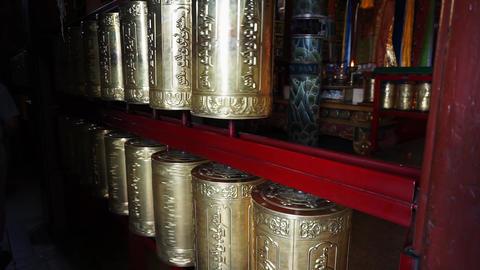 prayer wheels in buddhist monastery Live Action
