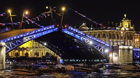 Drawn Palace bridge and Winter Palace at night Live Action