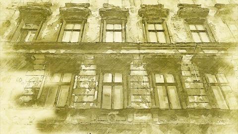 4K The Haunted Building Vintage Artwork Animation