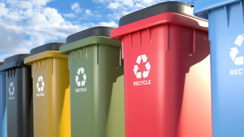 Colorful plastic trash cans with a logo recycling Animation