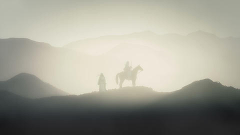 King Saladin on a Horse and Arab Guard Live Action