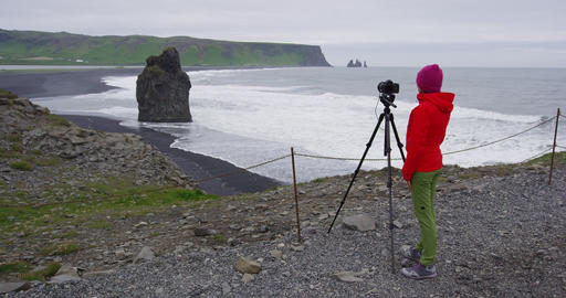 Landscape travel photographer photographing or nature landscape on Iceland Live Action