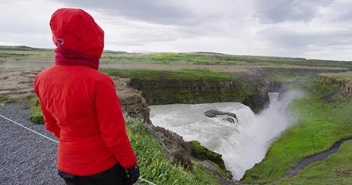 Tourist at Gullfoss Waterfall on Iceland in Icelandic nature on Golden Circle Live Action