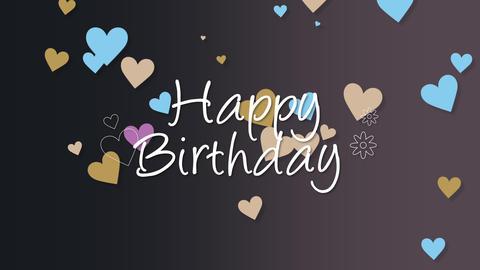 Animated closeup Happy Birthday text on holiday background Animation
