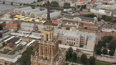 RIGA, LATVIA - MAY, 2019: Aerial view of the observation deck of the Academy of Live Action