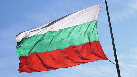 Bulgarian flag moving. Symbol of patriotism Live Action
