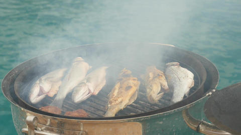 Preparing grilled fish outdoors Live Action