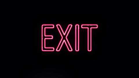 Neon Exit Sign Lighting Up Live Action