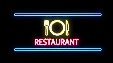 RESTAURANT with Fork Knife Plate Icon Sign in Neon Style Lighting Up Footage