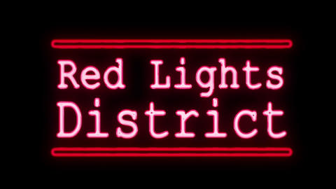 Red Lights District in Neon Style Turning On Footage