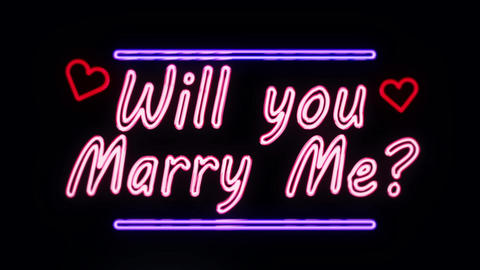 Will you Marry Me in Neon Style Lightning Up Footage