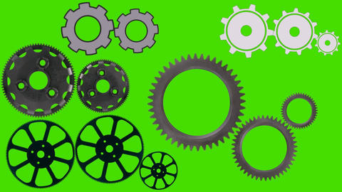 Cog wheels Spin and Rotate on a Green Screen Background Live Action