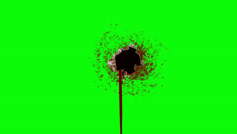 Bleeding Bullet Hole on a Green Screen Background Footage