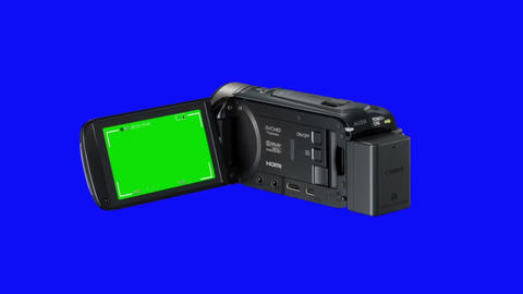Video Camcorder Recording with a Window Open on a Blue Screen Background Footage