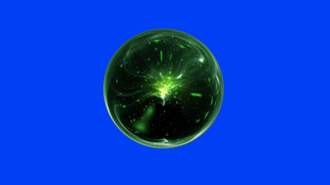 Green Magical Orb Spins on a Blue Screen Background Footage
