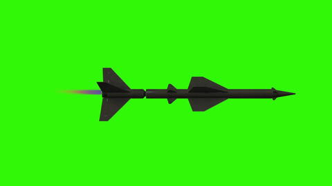 Military Missile Flying on a Green Screen Background Footage