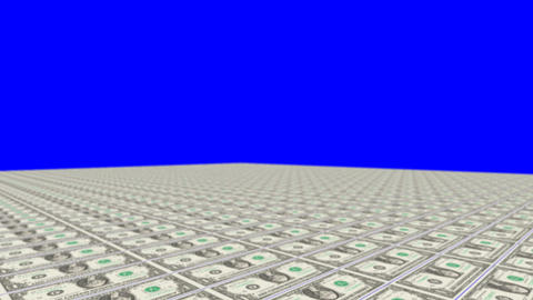 Money Carpet on a Blue Screen Live Action