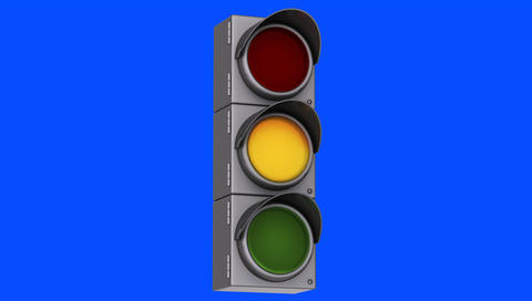 Traffic Light Turning from Red to Orange To Green on a Blue Screen Background Footage