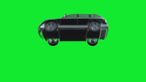 Car Flying Cause of an Impact of a Storm or an Accident on a Green Screen Footage