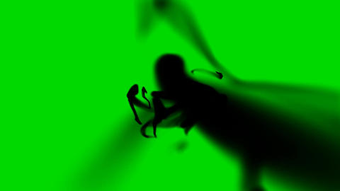 Spooky Black Liquid String on a Green Screen Background Live Action