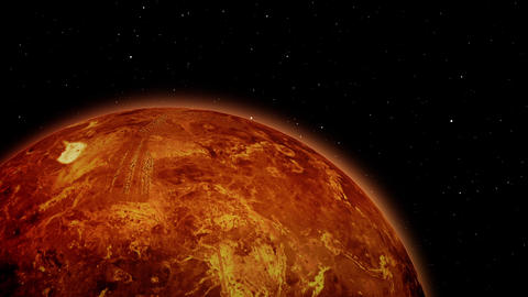 Approaching to Planet Mars in Outer Space Footage