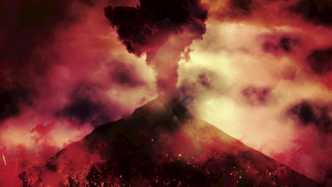 Chaotic Volcanic Eruption with Fire and Flames Footage