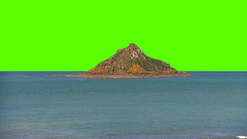 Small Island in The Middle of the Ocean Sea On a Green Screen Background Footage