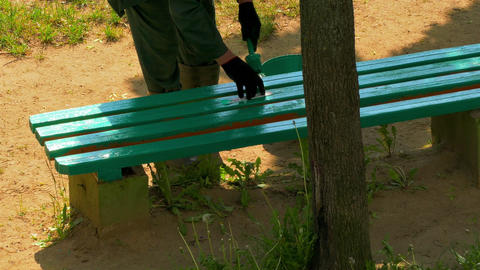 1080p Worker Paints Wooden Bench With Green Paint and Then Sticks Piece Of Footage