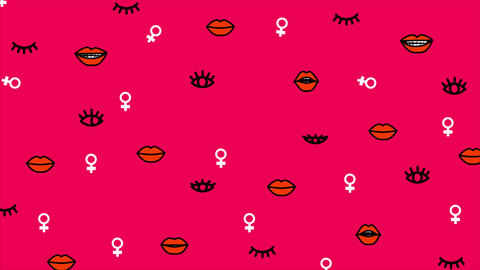 Simple Pattern With Female Gender Symbol Animation