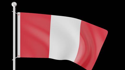 FLAG OF PERU WAVE W/ALPHA CHANNEL Animation