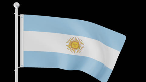 FLAG OF ARGENTINA WAVE W/ALPHA CHANNEL Animation