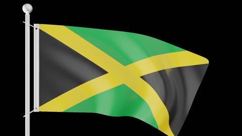 FLAG OF JAMAICA WAVE W/ALPHA CHANNEL Animation
